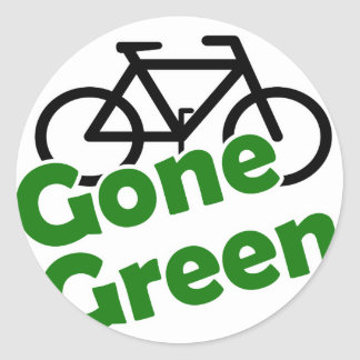 gone green bicycle round sticker