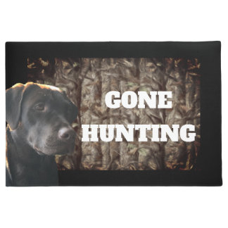 Gone Hunting of Chocolate Lab Dog Welcome Mat