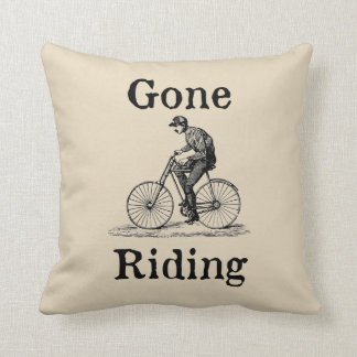 Gone Riding (Bicycle) Vintage Style Throw Pillow