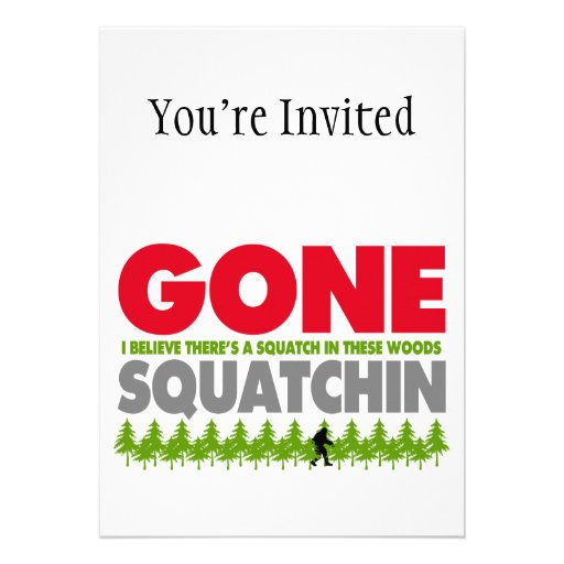 Gone Squatchin Bigfoot Hiding In Woods Personalized Invitations