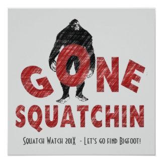 """Gone Squatchin' Bigfoot Hunters Club Invite 5.25"""" Square Invitation Card"""