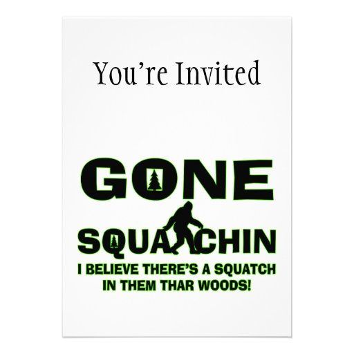 Gone Squatchin Bigfoot In Woods Personalized Announcements