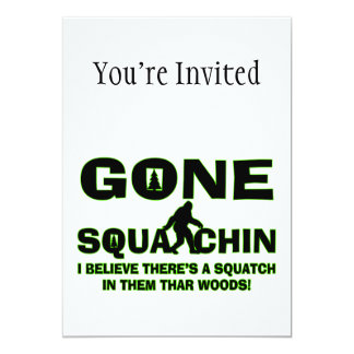 "Gone Squatchin Bigfoot In Woods 5"" X 7"" Invitation Card"