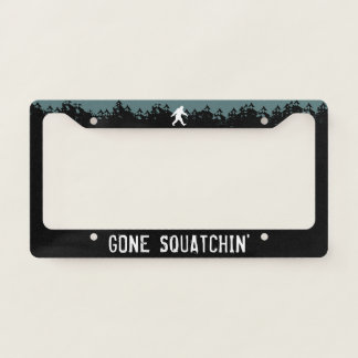 Gone Squatchin' Bigfoot Silhouette Sasquatch Licence Plate Frame