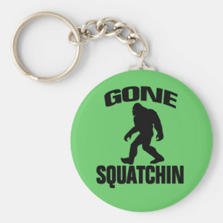 Gone Squatchin - Black and Light Green Basic Round Button Key Ring