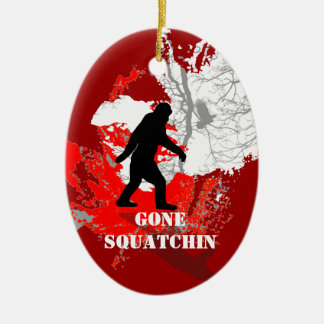 Gone Squatchin, black bigfoot Ceramic Oval Decoration