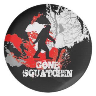 Gone Squatchin, black bigfoot Party Plate