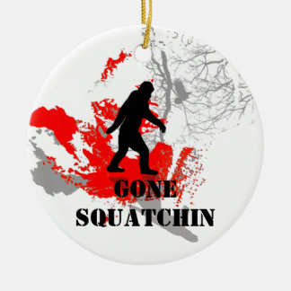 Gone Squatchin, black bigfoot Round Ceramic Decoration