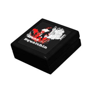 Gone Squatchin, black bigfoot Small Square Gift Box