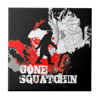 Gone Squatchin, black bigfoot Small Square Tile