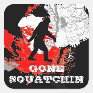 Gone Squatchin, black bigfoot Square Sticker