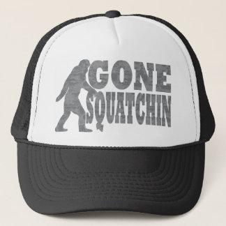 Gone squatchin black text & bigfoot trucker hat