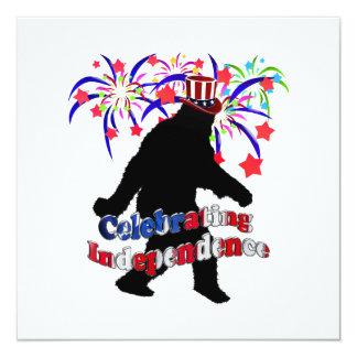 "Gone Squatchin - Celebrating Independence 5.25"" Square Invitation Card"