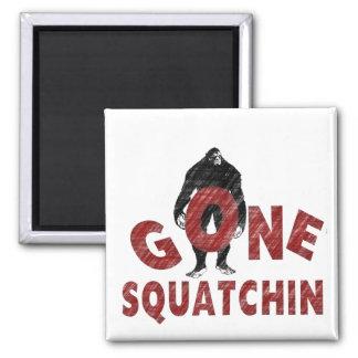 Gone Squatchin - Crayon Style Squatcher Square Magnet