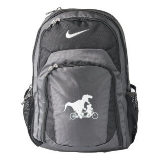 Gone Squatchin cycling with T-rex Backpack