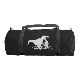 Gone Squatchin cycling with T-rex Gym Bag