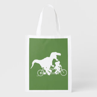 Gone Squatchin cycling with T-rex Reusable Grocery Bag