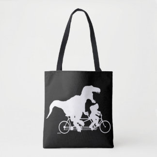 Gone Squatchin cycling with T-rex Tote Bag