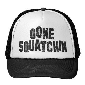 Gone Squatchin (Distressed) Black Mesh Trucker Hat
