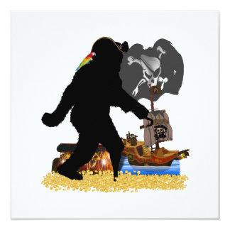 "Gone Squatchin' Fer Buried Treasure 5.25"" Square Invitation Card"