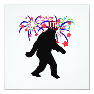 """Gone Squatchin for 4th of July Fireworks 5.25"""" Square Invitation Card"""
