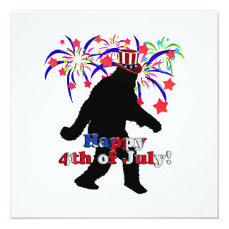 """Gone Squatchin  for 4th of July (Text & Fireworks) 5.25"""" Square Invitation Card"""