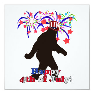 "Gone Squatchin  for 4th of July (Text & Fireworks) 5.25"" Square Invitation Card"