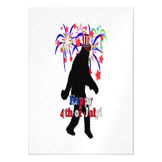 Gone Squatchin  for 4th of July (Text & Fireworks) Magnetic Invitations