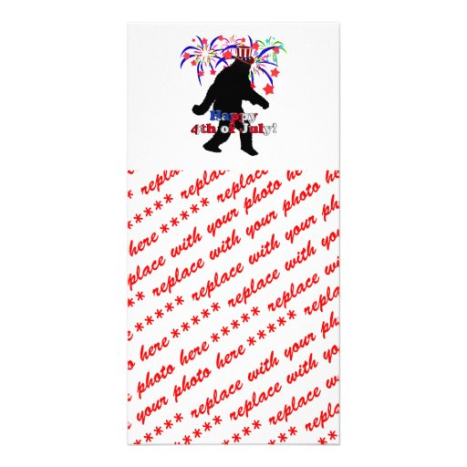 Gone Squatchin  for 4th of July (Text & Fireworks) Personalized Photo Card