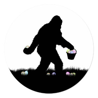 """Gone Squatchin for Easter Eggs 5.25"""" Square Invitation Card"""