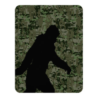 Gone Squatchin For on Olive Digital Camouflage 11 Cm X 14 Cm Invitation Card