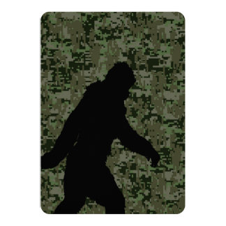 Gone Squatchin For on Olive Digital Camouflage 5x7 Paper Invitation Card