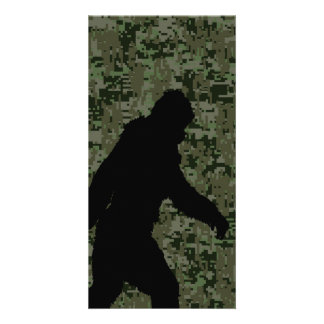 Gone Squatchin For on Olive Digital Camouflage Personalized Photo Card