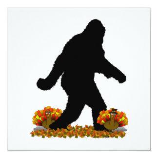 Gone Squatchin for Thanksgiving Turkey 13 Cm X 13 Cm Square Invitation Card