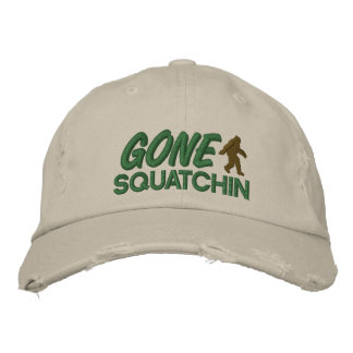 Gone Squatchin - green and brown stitching Embroidered Hats