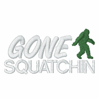 Gone Squatchin, Green and White Stitching Embroidered Hooded Sweatshirts