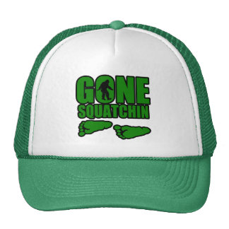 Gone Squatchin green footprints Trucker Hats