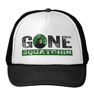 Gone Squatchin (Green) Grunge Squatch Trucker Hats
