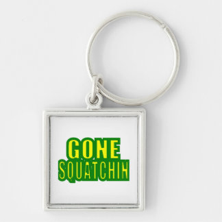 Gone Squatchin Green /Yellow Silver-Colored Square Key Ring