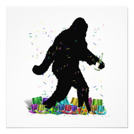 Gone Squatchin' In The New Year Personalized Invitation