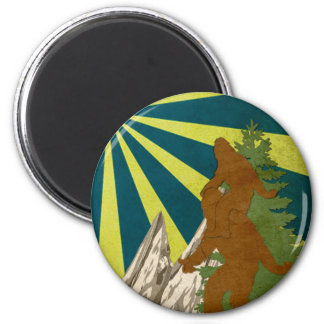 Gone Squatchin Piggy Back Squatch Squatchy Bigfoot 6 Cm Round Magnet