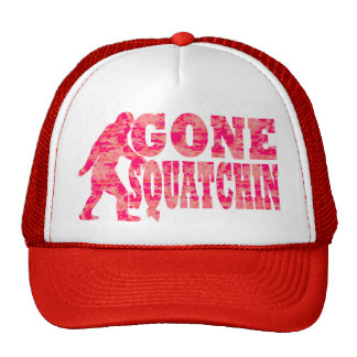 Gone squatchin red text slogan cap