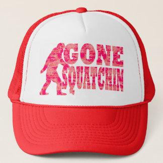 Gone squatchin red text slogan trucker hat