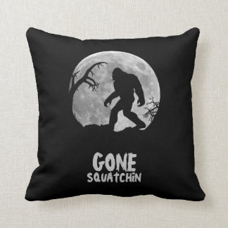 Gone Squatchin, sasquatch silhouette with moon Cushion