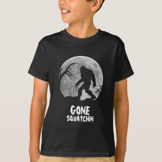 Gone Squatchin, sasquatch silhouette with moon T-Shirt