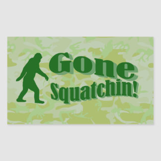 Gone Squatchin text on green camouflage Rectangular Sticker