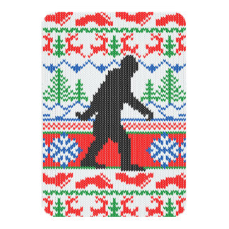 "Gone Squatchin Ugly Christmas Sweater Knit Style 3.5"" X 5"" Invitation Card"