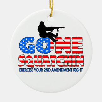 Gone Squatchin USA Round Ceramic Decoration