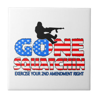 Gone Squatchin USA Small Square Tile