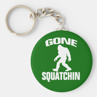 Gone Squatchin - White and Green Basic Round Button Key Ring